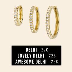 Boucles d'oreilles de trois tailles différentes anneaux dorés avec brillants MYA BAY