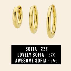 Boucles Sofia lisse disponibles dans trois tailles différentes bijoux MYA BAY