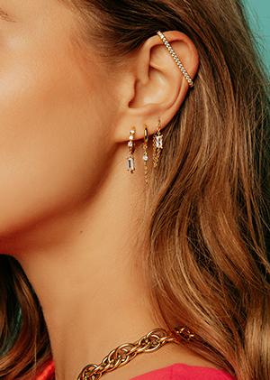 Boucles d'oreilles chaines pierres fines bijoux MYA BAY