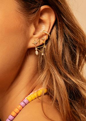 Boucles d'oreilles accumulation pierres fines bijoux MYA BAY