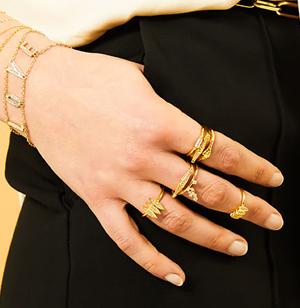 Collection bijoux Mya Bay, bracelets et bagues dorés ou argentés