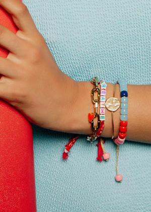 Bracelets beads bandana gold colors fabric jewels mya bay