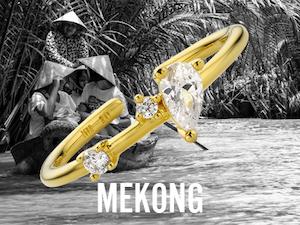 Bague Mekong dorée, bijoux Mya Bay ajustables