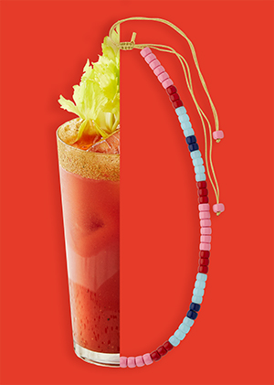 Bloody mary necklace MYA BAY in beads blue red and pink summer collection