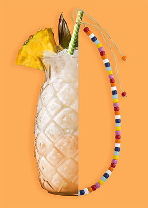 Pina colada necklace mutlicolor in beads summer collection
