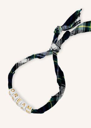 Bracelet tartan avec mot DREAM en doré collaboration avec KickCancer et MYA BAY