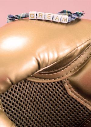 Gant de boxe avec bracelets tartan DREAM pour KickCancer avec MYA BAY