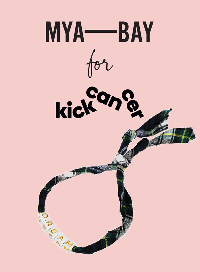 Collaboration MYA BAY pour KickCancer bracelet tartan avec le mot DREAM